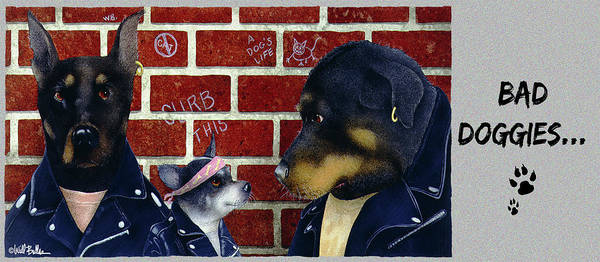 Doberman Wall Art - Painting - Bad Doggies... by Will Bullas