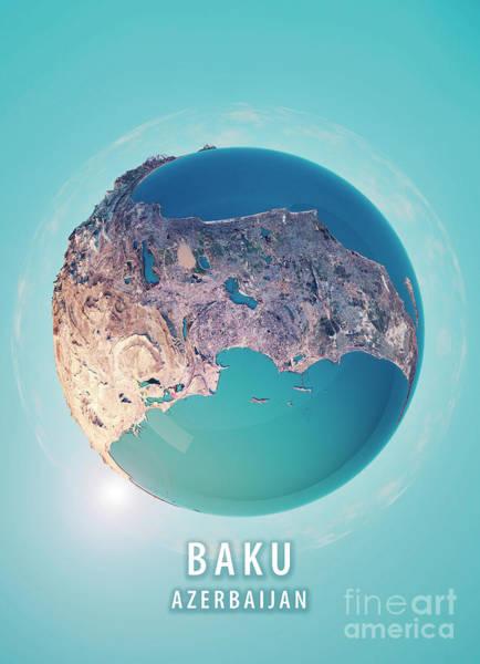 Little Planet Digital Art - Baku 3d Little Planet 360-degree Sphere Panorama by Frank Ramspott