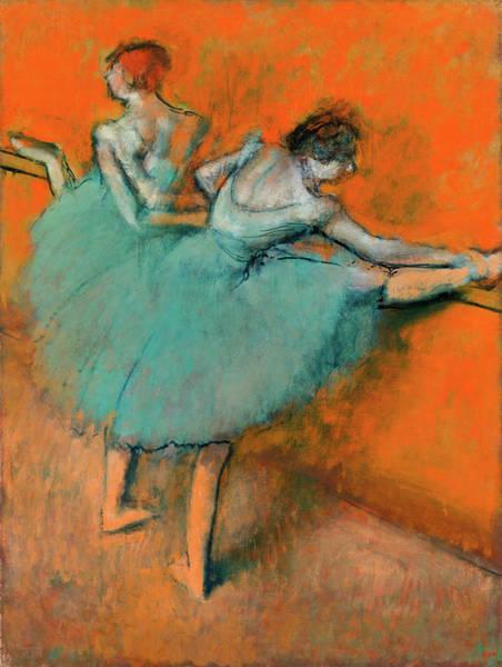 Wall Art - Painting - Ballerinas At The Bar by Edgar Degas