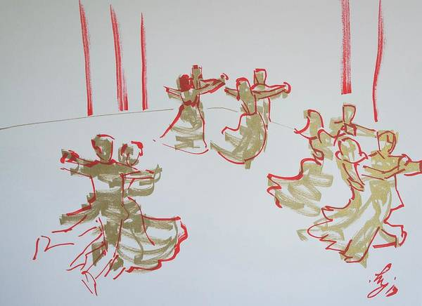 Drawing - Ballroom Dancing by Mike Jory