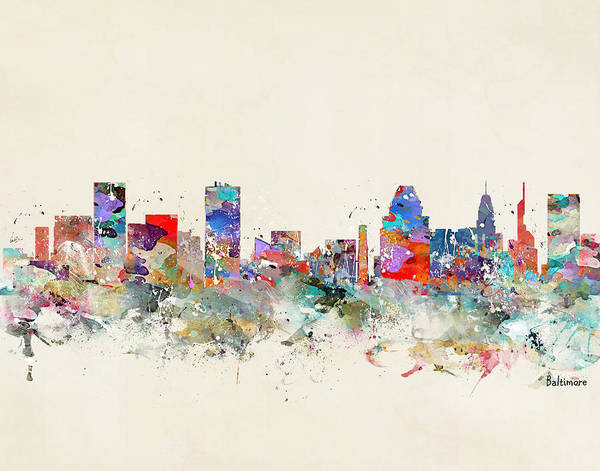 Maryland Wall Art - Painting - Baltimore Skyline by Bri Buckley