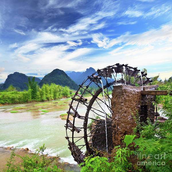 Water Hydrant Photograph - Bamboo Water Wheel by MotHaiBaPhoto Prints