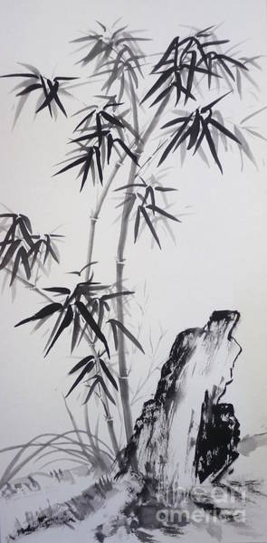 Master Piece Painting - Bamboo With Stone by Birgit Moldenhauer