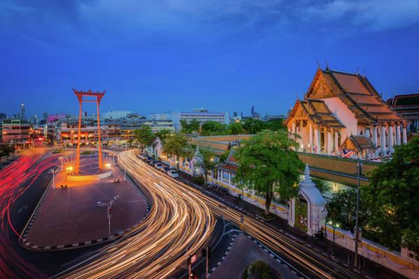 Wat Suthat Photograph - Bangkok Red Swing by Anek Suwannaphoom