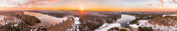 Lake Granby Wall Art - Photograph - Barkhamsted Reservoir And Saville Dam In Connecticut, Sunrise Panorama by Petr Hejl