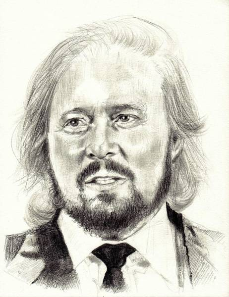 Wall Art - Drawing - Barry Gibb Portrait by Suzann Sines