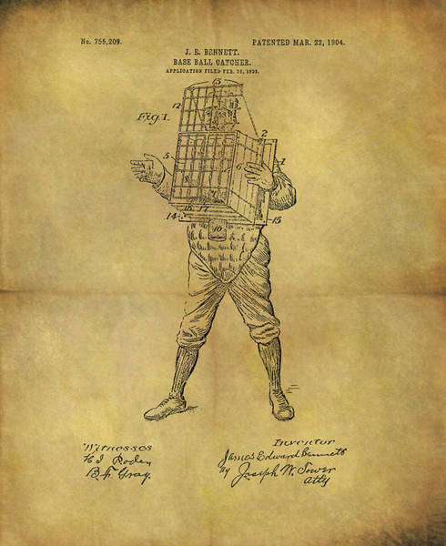 Drawing - Baseball Catcher's Mask Patent by Dan Sproul