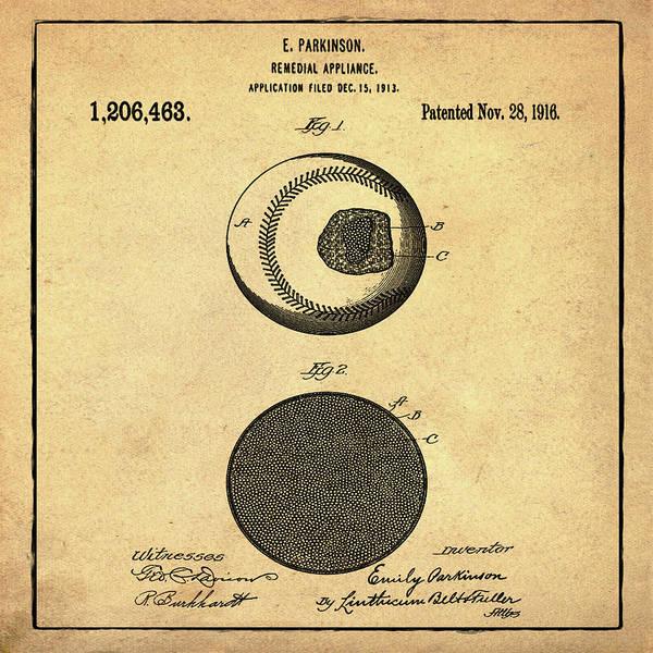 Photograph - Baseball Patent 1916 Sepia by Bill Cannon