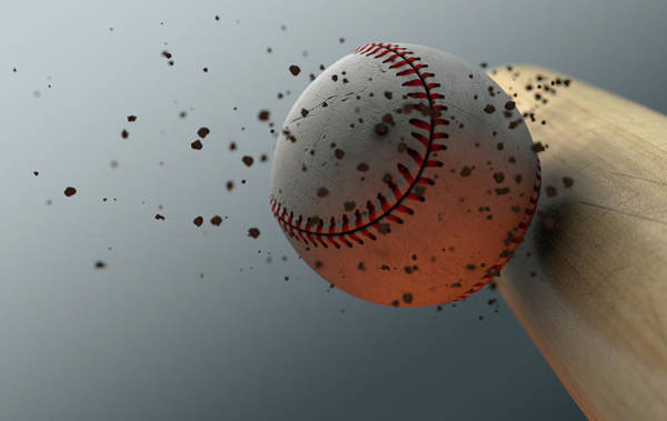 Wall Art - Digital Art - Baseball Striking Bat In Slow Motion by Allan Swart