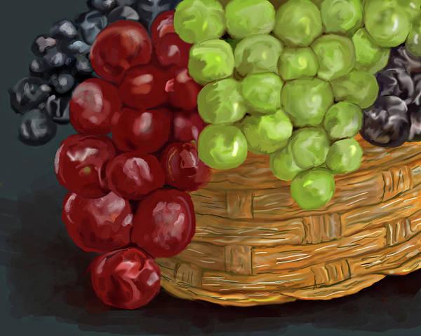 Wicker Basket Digital Art - Basket Of Grapes by Diane Bell