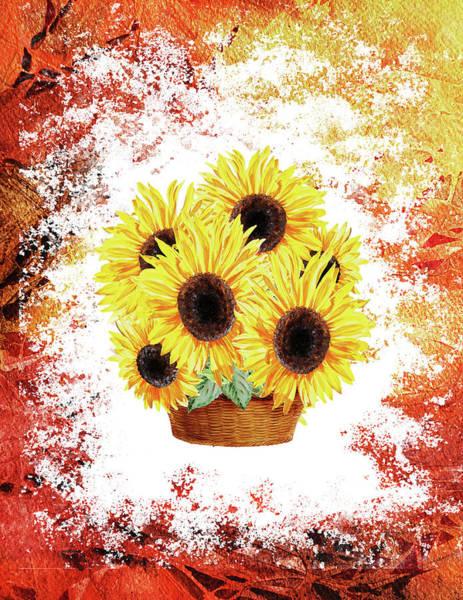 Painting - Basket With Sunflowers by Irina Sztukowski