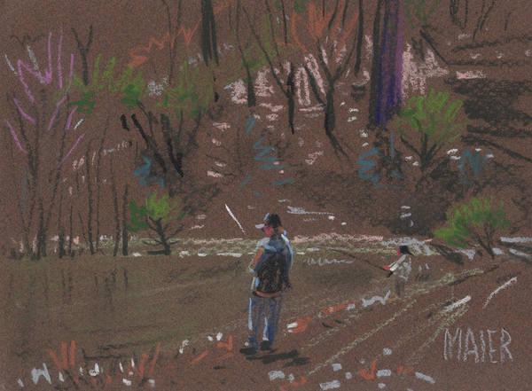 Wetland Drawing - Bass Fishing by Donald Maier