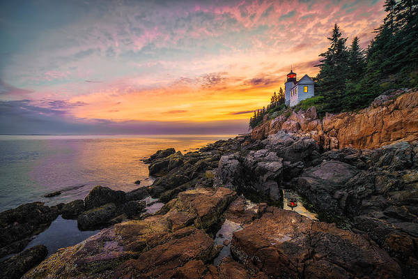 Acadia National Park Wall Art - Photograph - Bass Harbor Light At Sunset by Jeff Bazinet