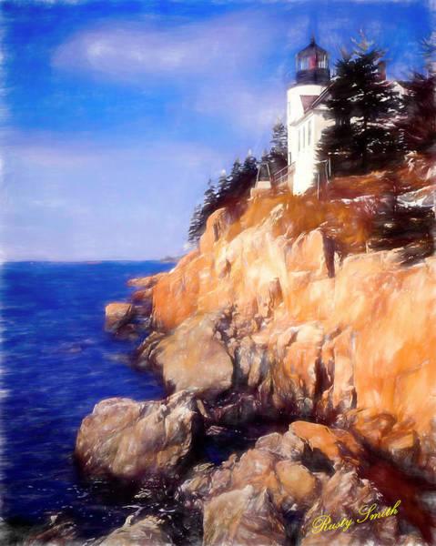 Digital Art -   Bass Harbor Lighthouse,acadia Nat. Park Maine. by Rusty R Smith