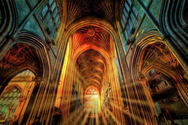 Bath Abbey Photograph - Bath Abbey Sun Rays Art by David Pyatt