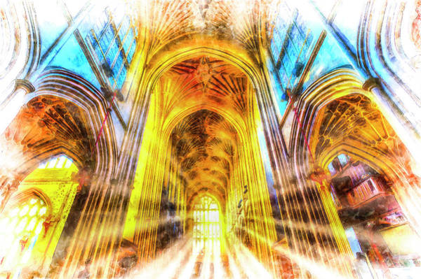 Wall Art - Photograph - Bath Abbey Sun Rays by David Pyatt