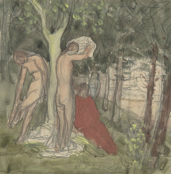 Drawing - Bathers by Pierre Puvis de Chavannes
