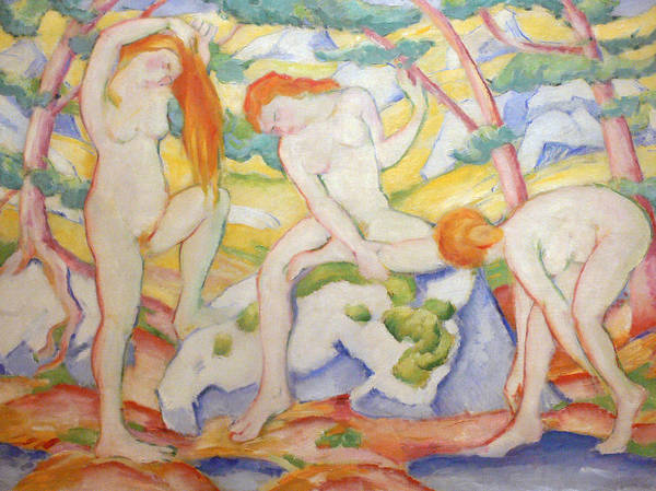 Painting - Bathing Girls by Franz Marc