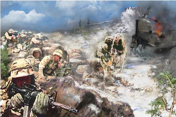 Painting - Battle At Roberts Ridge by Todd Krasovetz