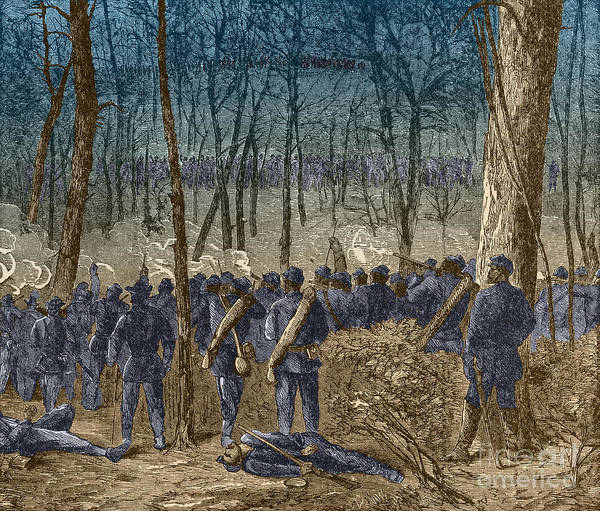 Between The Trees Photograph - Battle Of The Wilderness, 1864 by Photo Researchers