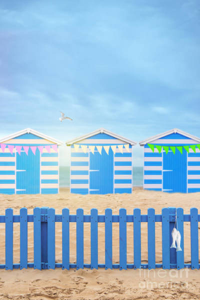 Bunting Photograph - Beach Huts by Amanda Elwell
