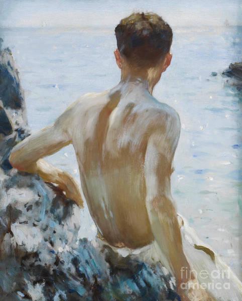 Sunbathing Painting - Beach Study by Henry Scott Tuke
