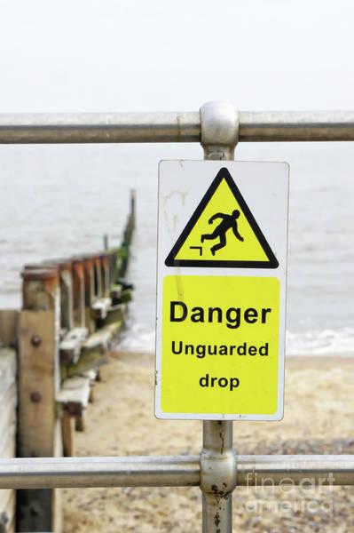Notice Board Photograph - Beach Warning Sign by Tom Gowanlock