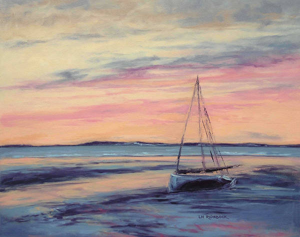 Impressionistic Sailboats Painting - Beached At Sunset by Lisa H Ridabock