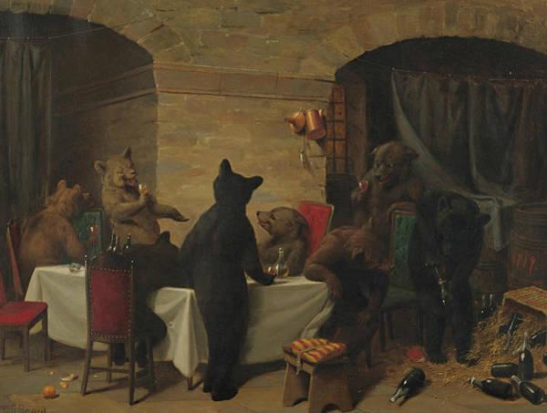 Drapes Painting - Bear Carousal by William Holbrook Beard