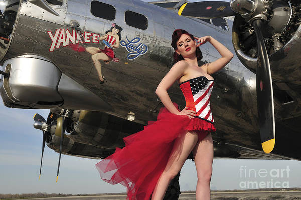 B-17 Bomber Photograph - Beautiful 1940s Style Pin-up Girl by Christian Kieffer