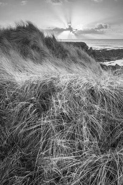 West Wales Photograph - Beautiful Black And White Landscape Image Of Freshwater West Bea by Matthew Gibson