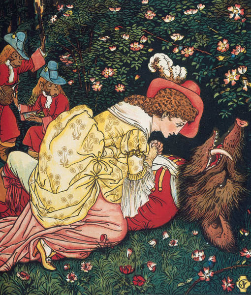 Wall Art - Relief - Beauty And The Beast by Walter Crane