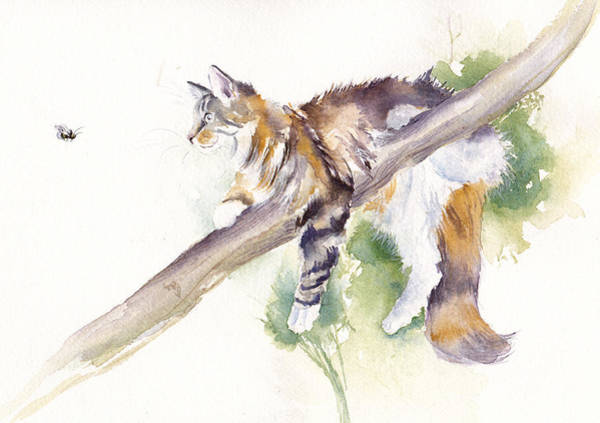 Calico Cat Painting - Bee High by Debra Hall