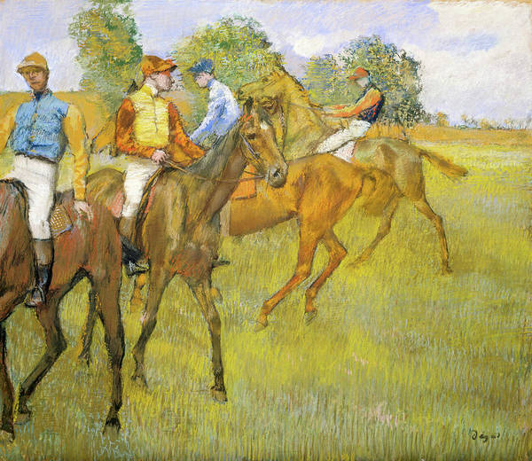 Chestnut Horse Painting - Before The Race by Edgar Degas
