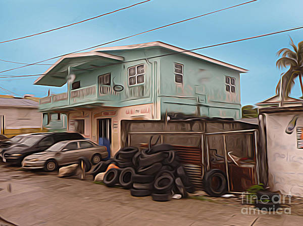 Belize Digital Art - Belize - Used Tire Shop by Jason Freedman