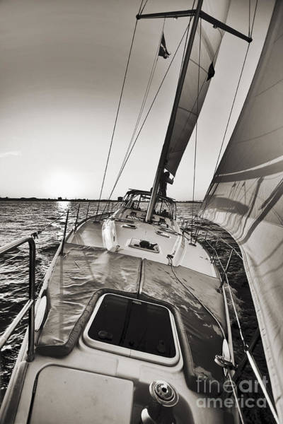 Beneteau 49 Sailing Yacht Close Hauled Charleston Sunset Sailboat Art Print