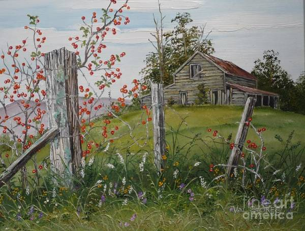Painting - Berry Barn by Val Stokes
