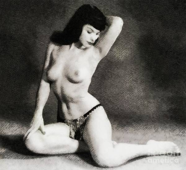 Satan Painting - Bettie Page, Pinup Model by John Springfield