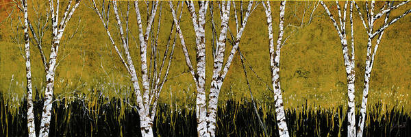 Birches Painting - Betulle A Sfondo Giallo by Guido Borelli