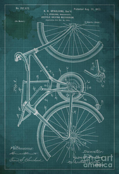 Invention Painting - Bicycle Driving Mechanism Patent Year 1902 by Drawspots Illustrations