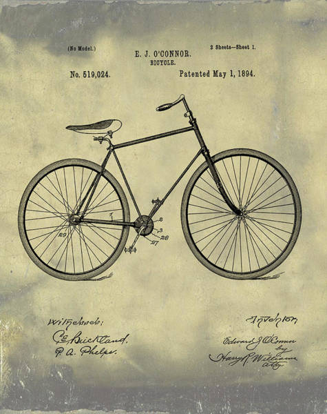 Digital Art - Bicycle Patent 1894 Blue Sepia by Bill Cannon