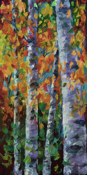 Painting - Birch Trees by OLena Art - Lena Owens