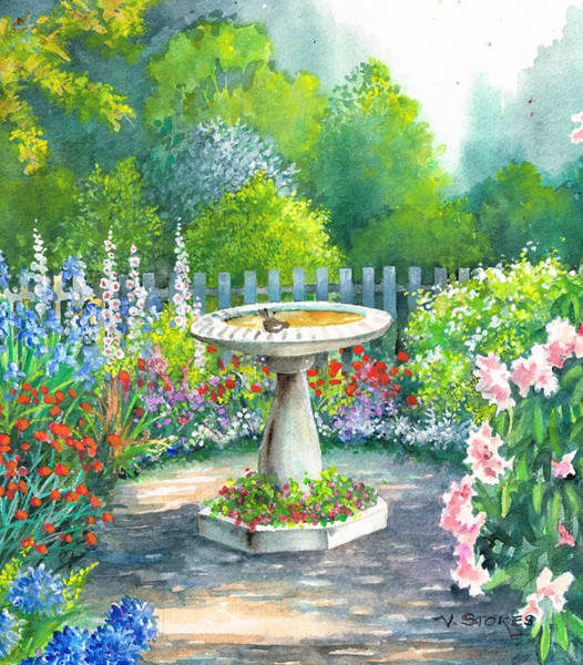 Painting - Bird Bath by Val Stokes