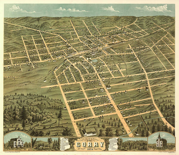 Wall Art - Painting - Bird's Eye View Of The City Of Corry, Erie County, Pennsylvania 1870 by Ruger