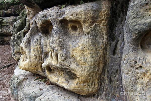 Wall Art - Photograph - Bizarre Stone Heads - Rock Sculptures by Michal Boubin