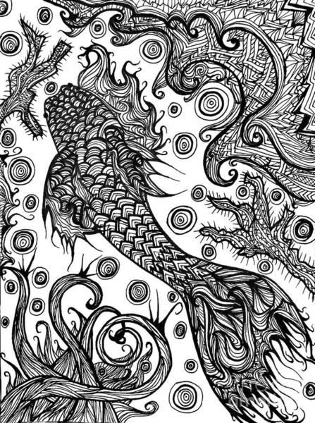 Sharpie Wall Art - Drawing - Black Koi by Ally Spray