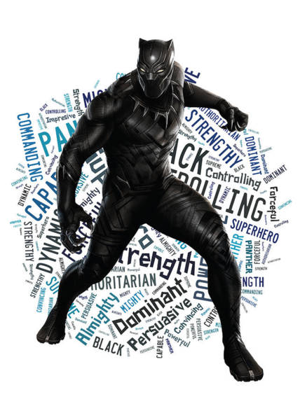 Black Panther Mixed Media - Black Panther Powerful Words by Love Art