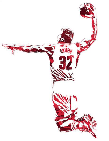 Clipper Wall Art - Mixed Media - Blake Griffin Los Angeles Clippers Pixel Art 5 by Joe Hamilton