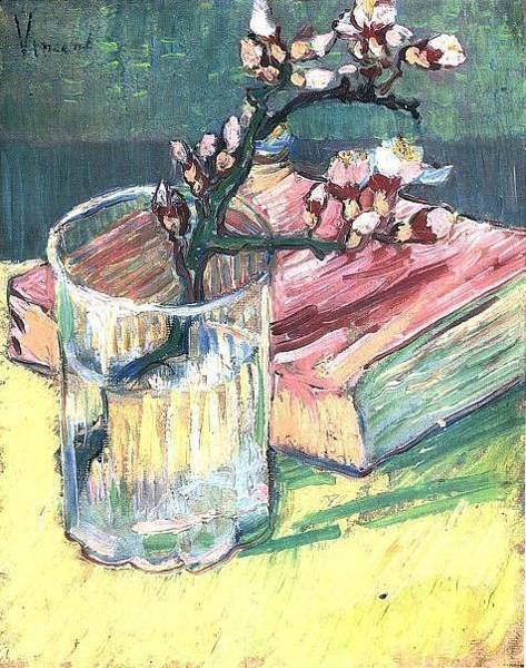 Painting - Blossoming Almond Branch In A Glass With A Book 1888 by Vincent Van Gogh