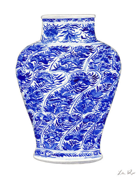 Wall Art - Painting - Blue And White Ginger Jar Chinoiserie 4 by Laura Row